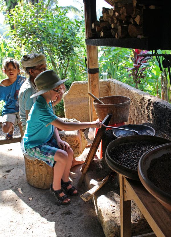 На кофейной плантации - обжарка кофейных зерен.