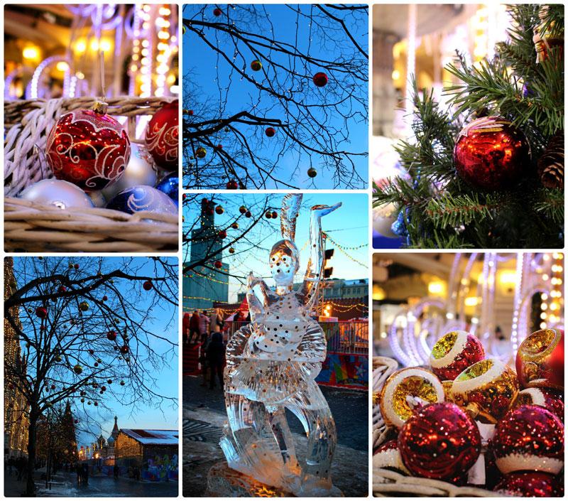 Новогодний коллаж - елка, новогодние игрушки, ледяная скульптура на Красной площади