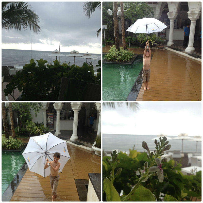 Тропический ливень в Ловине, остров Бали. Пляж с черным песком.
